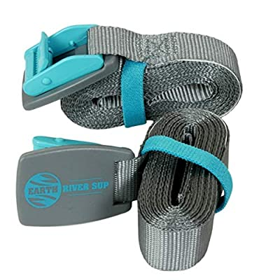 Earth River SUP Roof Rack Tie Down Cam Straps for Paddle Boards, Kayaks, Surfboards and Canoes (Two Pack) - Teal