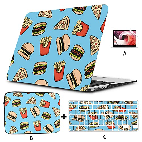 MacBook Pro Covers Fast Food Hamburg Pizza Fries Drawing Macbookpro Case Hard Shell Mac Air 11'/13' Pro 13'/15'/16' with Notebook Sleeve Bag for MacBook 2008-2020 Version
