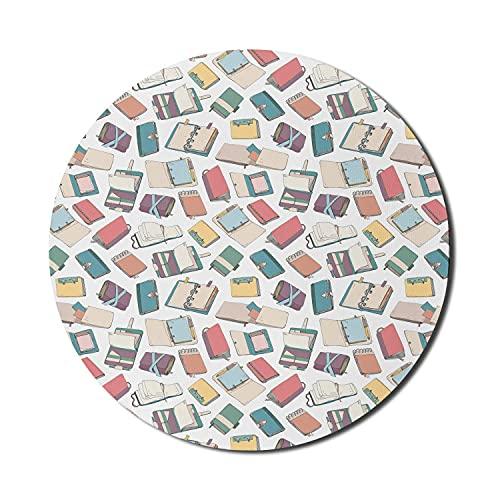 Schreibwaren-Mauspad für Computer, rhythmische Motive von Notizbüchern Agenda-Bücher Muster auf einfachem Hintergrund, rundes rutschfestes dickes Gummi-modernes Gaming-Mousepad, 8 \'rund, weiß und mehr