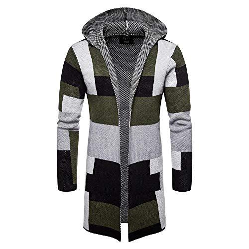 YEBIRAL Herren Pullover Lange Strickjacke Slim Fit Moderne Männer Jacke mit Kapuze Kapuzenpullover Strickpullover Hoodie Sweater Sweatshirt