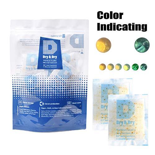 8 Packet Silica Gel Dehumidifier Desiccant 40 Gram Orange to Green Reusable Safe