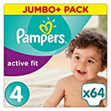 PAMPERS Active Fit, tamaño 4, 8–16kg, pañales, 64unidades)