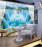 3D Printed Blackout Curtainsdigital Printing Design Distinctive Vertical Curtains, Blue Landscape Waterfall Printing Simple Stylish Eyelet Curtains Breathable Insulation ,For Living Room Bedroom Kid