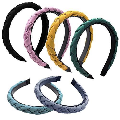 6 Stück Damen Haarreif geflochten elastische Haarreifen rutschfest Drehung Haarband verdrehtes Stirnband einfarbig Headband Haarschmuck für Frauen Mädchen