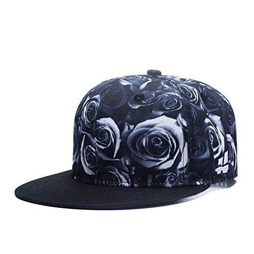 Premium Floral Black White Rose Twill Adjustable Snapback Hat Hip-Hop Flat Peaked Baseball Caps