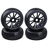 Hobbypark 4PCS 1/8 Buggy Tires and Wheels 17mm Hex Drive Hub ,Foam Inserts for RC Off Road Car Replacement Parts