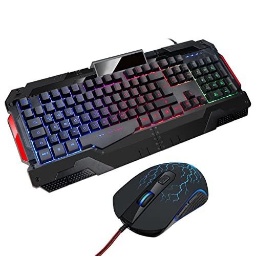 Gaming Tastatur Und Maus Set tastatur maus set wired Rainbow LED Hintergrundbeleuchtung GK806 USB Gaming Keyboard 7 Tasten Gaming Maus mit (600/800/1200/1600/2400/3200 DPI einstellbar) DE-Layout