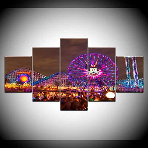 Abstract Art Mur Photo Décor À La Maison 5 Panneau Mickey Mouse Parc D'attractions Grande Roue Nuit Paysage Impression sur Toile Peinture Art Taille 2 avec Cadre