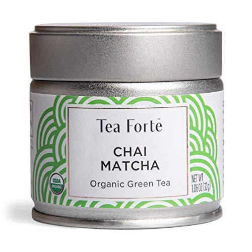 Tea Forte Organic Matcha Green Tea Powder, For Hot or Cold Matcha Tea or Latte 1.06 oz Canister (12 Servings), Chai Matcha