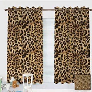 ZXAWT Custom Design Curtains/Grommet Top Blackout Curtains/Thermal Insulated Curtain for Bedroom and Kitchen-Set of 2 Panels(Leopard Print Animal Skin Digital Printed Wild African Safari 72