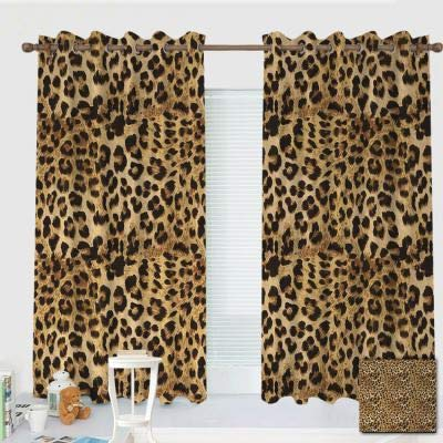 """ZXAWT Custom Design Curtains/Grommet Top Blackout Curtains/Thermal Insulated Curtain for Bedroom and Kitchen-Set of 2 Panels(Leopard Print Animal Skin Digital Printed Wild African Safari 72"""" W63 L)"""