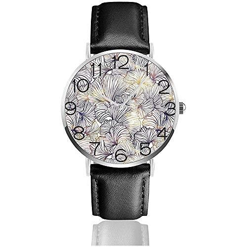 Uhr Armbanduhr Ginkgo Leaves Classic Casual Quarz Schwarzes Lederarmband Uhr Business-Uhren