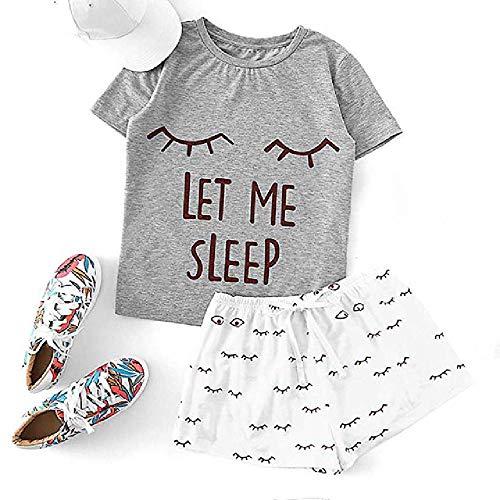 Pijama para Mujer Estampado Gato Manga Corta con Volantes Camiseta Conjunto de Ropa de Dormir