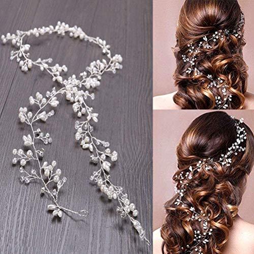 100cm Haardraht Hochzeit Haarschmuck Haardraht Perlen Strass Brautschmuck Braut,Strassbesatz Haarband und Stirnband mit Kristall,Kopfschmuck Kopfabdeckung für Frauen und Mädchen