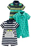 Simple Joys by Carter's Baby Boys' 3-Pack Rompers, Blue Stripe/Turquoise Dino/Grey Navy, 18 Months