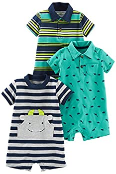 Simple Joys by Carter s Baby Boys  3-Pack Rompers Blue Stripe/Turquoise Dino/Grey Navy 6-9 Months