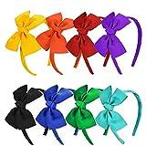 Vamotto Haarreif mit Schleife, 8 Stück, für Baby, Mädchen, Haarschmuck, mit Ripsband gewickelt, Zubehör für Babys und Mädchen, Feiern, 8 Farben