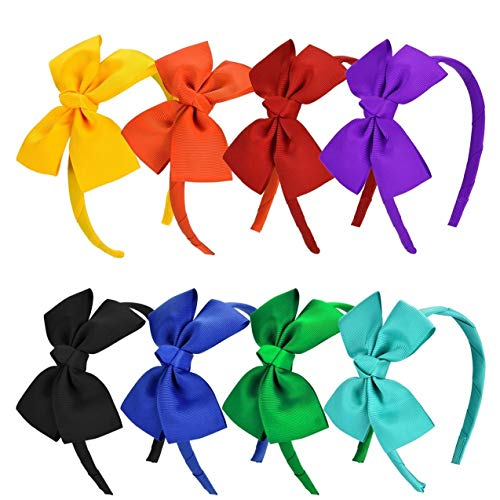 Vamotto 8 Pieces Bow Tie Headband Bow Tie Hairband for Baby Girls,Head Wraps Grosgrain Ribbon Hair Band Hair Accessories for Baby Girls Favors and Party, 8 Colors