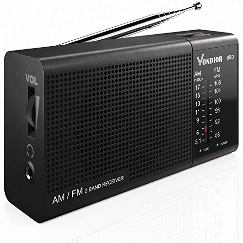 AM FM Portable Radio - Best Reception and Longest Lasting. AM FM Battery Radio Player Operated by 2 AA Battery, Mono Headphone Socket, by Vondior (Silver)