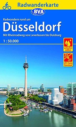 Radwanderkarte BVA Radwandern rund um Düsseldorf, 1:50.000, reiß- und wetterfest, GPS-Tracks Download: Mit Rheinradweg von Leverkusen bis Duisburg (Radwanderkarte 1:50.000)