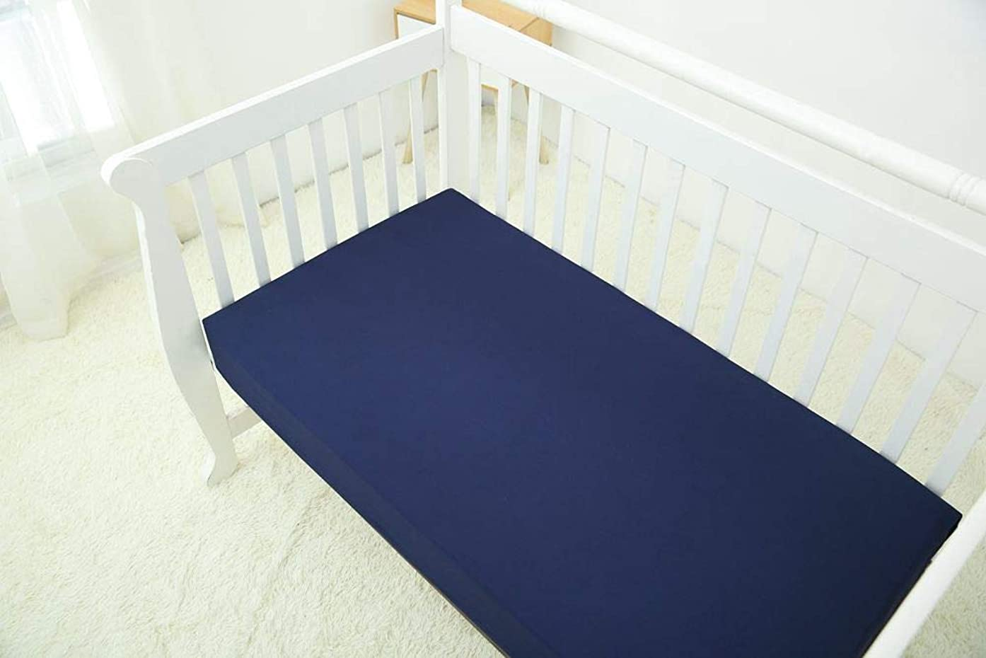 CaSaJa Fitted Crib Sheet, 100% Poly Microfiber, Soft Cozy and Hypoallergenic for Four Season, Fits Standard Size Crib(28 in x 52 in) or Toddler Mattresses, Navy