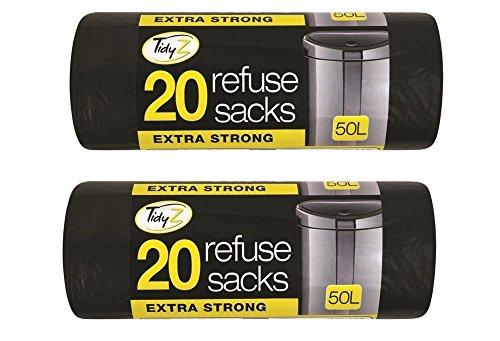 Tidyz Tidy z Lot de 2 sacs poubelle ultra résistants pour maison/cuisine/bureau/garage/jardin/atelier Noir 50 l 10 x 10 x 10 cm