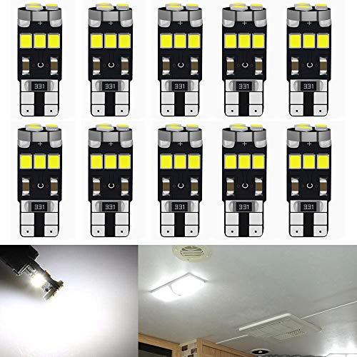 Qoope- 10 Stück Weiß T10 12V Canbus Fehlerfreie Glühlampen ersetzen die Lampe 194 168 501 2825