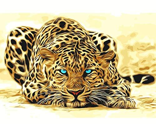 WLHZNBH schilderen op nummer, luipaard Predator afbeelding, beginners schilderen op nummer, kind volwassenen doe-het-zelf olieverfschilderij creatief geschenk wooncultuur 40 * 50 cm (B) No Frame