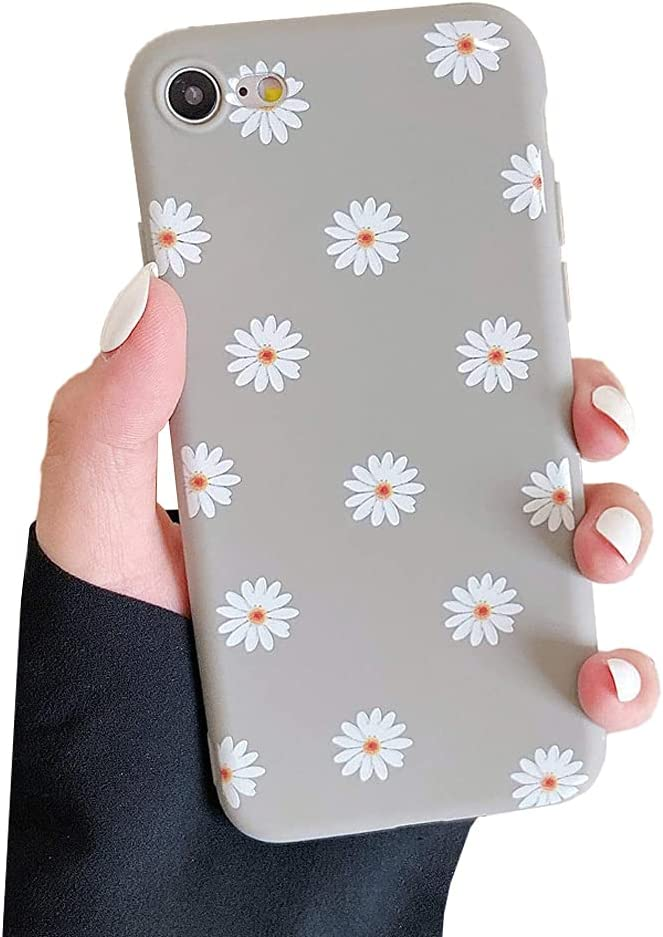 ZTOFERA TPU Back Case for iPhone 7 iPhone 8 iPhone SE 2020, Daisy Pattern Matte Soft TPU Case, Slim Light-Wight Protective Bumper Cover for iPhone 7 4.7