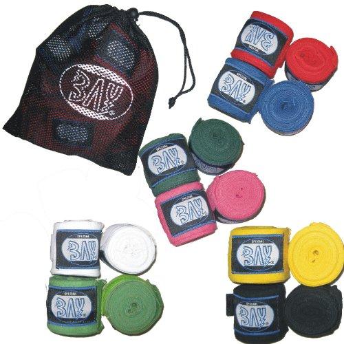 BAY® LILA clever Set Boxbandagen inkl. MESH Bag Tasche zur Aufbewahrung + WICKELANLEITUNG, elastisch, Box-Bandagen, Paar, SCHWARZ ROT GRÜN BLAU LILA PINK ROSA Weiss (lila)