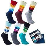 Vkele 6 Paar Fein Karierte Gemusterte Socken, Bunt Socken, Perfekt als Weihnachtsgeschenke, Baumwolle, Gradient, 43-46, Kariert
