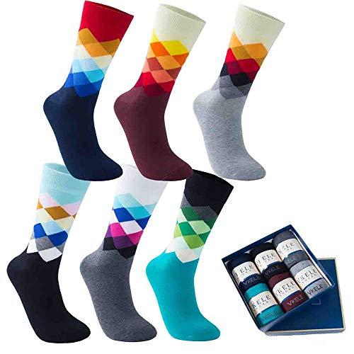 Vkele 6 Paar einfarbige Socken Geschenkpack, kariert, bunt, punkte, gestreift, Business Herrensocken, Crew Socken, Baumwolle, Gr. 39-46, 39-42, Kariert Ⅰ