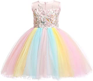 Girls Rainbow Unicorn Dress up Costume Puffy Tulle Skirt + Horn Headband Birthday Outfit Wedding Party Dresses for Kids