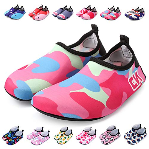 Bridawn Kids Water Shoes Quick Dry Non-Slip Barefoot, Camo Pink, XXL (12-13 M US Little Kid)