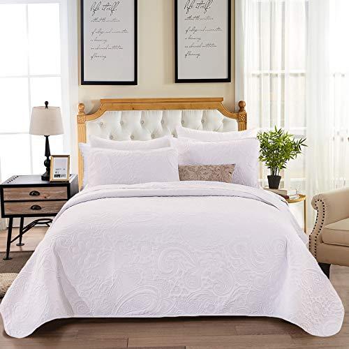WONGS BEDDING Tagesdecke 220x240 cm Weiß Bettüberwurf Steppdecke Wohndecke Bettdecke Stepp Decke aus Mikrofaser gesteppt Tagesdecken Betthusse mit 2 * 50 x 70cm Kissenbezüge für Bett
