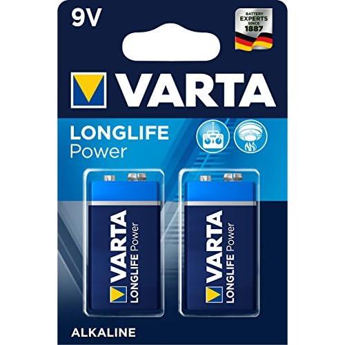 Varta 4922121412 Longlife Power (High Energy) Batteria Alcalina, 9V 6LR61, Confezione da 2 Pile - Il design può variare