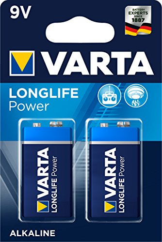 VARTA Longlife Power 9V Block 6LR61 Batterie (2er Pack) Alkaline E-Block Batterien -ideal für Feuermelder Rauchmelder Stimmgerät