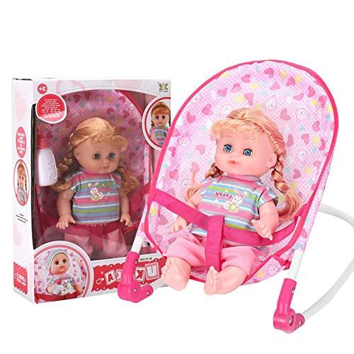 Muñeca de bebé, silla balancín, protección del medio ambiente, simulación, muñeca, puede beber agua, rosas, discursos, rompecabezas, juguete para niños y bebés