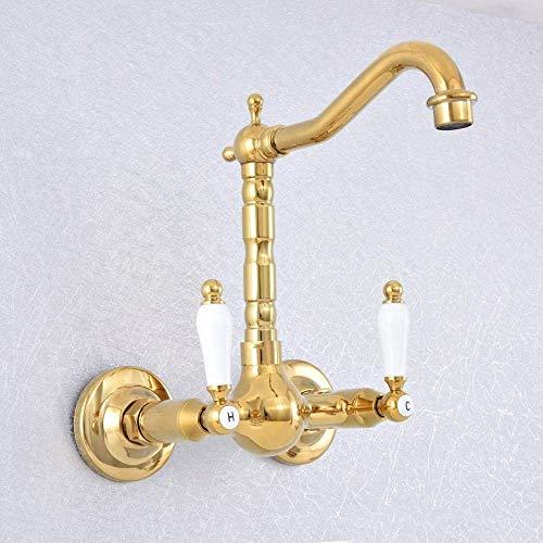 DJY-JY Grifo giratorio 360 baño bañera grifo montado en la pared color oro latón lavabo grifo mezclador cocina