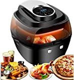 🔘【HEALTHIER LIFESTYLE】 Quickly Circulates hot air instead of oil, 85% less calories than normal fryers, and cooks foods that are crispy on the outside and tender and moist on the inside. Air Fryer is suitable for searing, frying, warming up and dehyd...