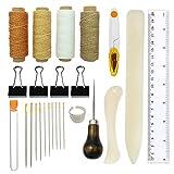 Kit de herramientas de encuadernación, 25 piezas de herramientas de costura premium para cuero, libros hechos a mano y papel DIY estantería