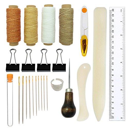 Buchbinden Werkzeuge Kits, Lederpolster Premium Nähen Werkzeug für Leder, Handarbeit Bücher und Papier DIY bookblind Set, inkl. Nähnadeln
