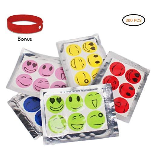 Daxoon Mückenschutz Aufkleber 50 Beutel 300pcs Smiley Insektenabwehr Aufkleber für Kinder Erwachsene(Einzelne Farbe gelegentliche Anlieferung)