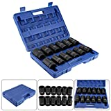 1 Inch Impact Socket Set 24-41mm, 12PCS Drive Deep Socket, 24mm, 26mm, 27mm, 29mm, 30mm, 32mm, 33mm, 34mm, 35mm, 36mm, 38mm, 41mm