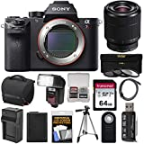 Sony Alpha A7R II 4K Wi-Fi Digital Camera Body with FE 28-70mm Lens + 64GB Card + Battery + Charger + Case + Flash + Tripod + Kit