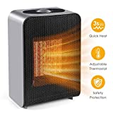 Space Heater, Portable Electric Ceramic Space Heater Fan 750W/1500W with Overheat Protection & Tip-Over Protection, Small Heater for Desk Office Home Bedroom