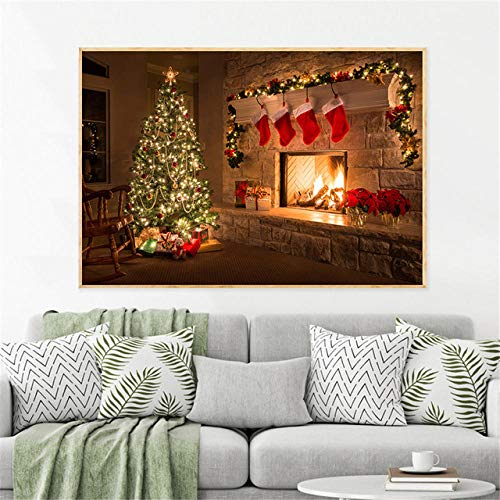 nobrand muurkunst poster kerstboom geschenken open haard avond huis Nieuwjaar canvas schilderij voor woonkamer huis decoratie print-50x75cm zonder lijst