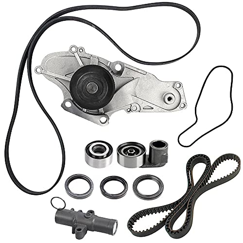 TKH-002 Engine Timing Belt Kit with Water Pump,Compatible with 2003-2013 Acura MDX TL RL ZDX TSX RDX Honda Accord Odyssey Pilot Ridgeline Saturn Vue 3.0L 3.5L 3.7L SOHC V6 Replace TCKWP329 TKH002