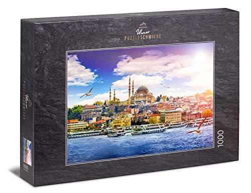 """Ulmer Puzzleschmiede - Puzzle """"Perle am Bosporus"""" - Klassisches 1000 Teile Städte-Puzzle – Puzzlemotiv der Panorama-Ansicht von Istanbul - die Hauptstadt der Türkei als anspruchsvolles Puzzle"""