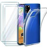Leathlux Coque Compatible avec Samsung Galaxy A31 Transparente avec 3 Verre trempé Protection écran, Souple Silicone Étui...